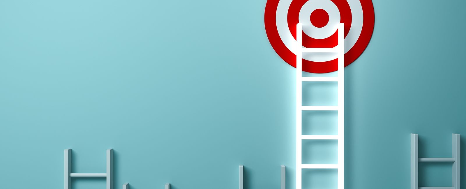 ladders climbing towards a target
