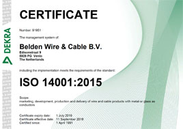 Netherlands ISO 14001 2015 Metal and Glass Cable Dekra Certification