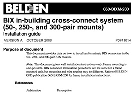BIX in-building cross-connect system (50-, 250-, and 300-pair mounts)