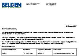 Hirschmann BAT-C Wireless LAN Client End of Life Letter