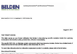 Lumberg Automation ASi-Interface (ASL) End of Life Letter