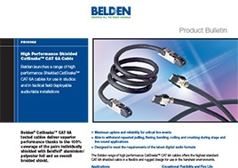 High Performance Shielded Catsnake Cat 6A Cable Product Bulletin