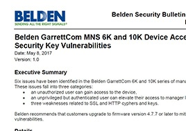 Mns 6K And 10K Device Access And Security Key Vulnerabilities Security Bulletin