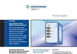 Optical Bypass Relay Obr40 From Hirschmann Product Bulletin