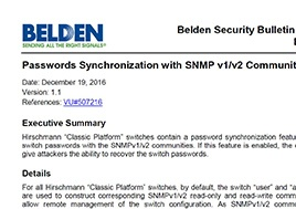 Passwords Synchronization With Snmp V1V2 Communities Security Bulletin