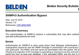 Snmpv3 Authentication Bypass Security Bulletin