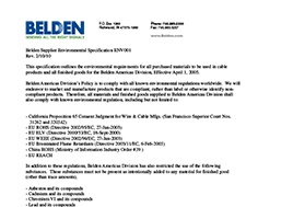 Belden Supplier Environmental Specification Env001
