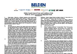 Belden Terms And Conditions Canada