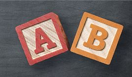 A and B letter blocks