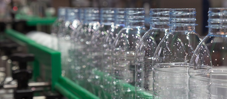 Bottles on a production line